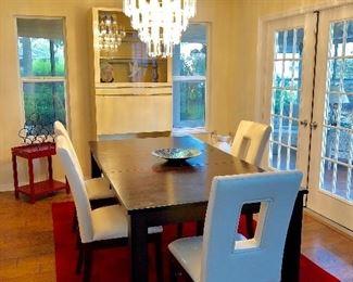 """Dark Walnut Dining Table w/Leaf and 4 Vinyl Chairs - $495 - (42W  78L w/18"""" leaf  30H)"""