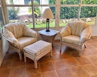 TWO Rattan Arm Chairs - (38W  34D  34H at back) Rattan Ottoman - (17W 26L)