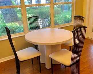 """Round Pedestal Formica Dinette w/4 Metal Chairs -$95 - (41-1/2"""" Dia. 29H)"""
