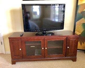 TWO Matching Media Consoles w/Glass Center Doors -$135 EACH -  (60W  17D  26H)
