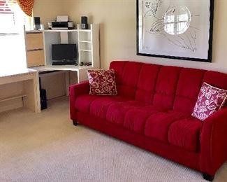 Red Futon Sofa - $110 - (87W  37D  36H)