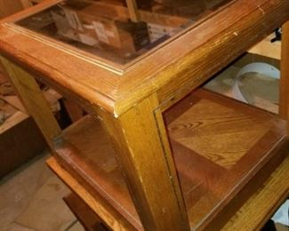 Wood End Table w/ Glass Top
