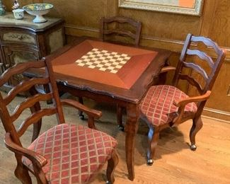 Convertible Game Table Chess/Checkers, Backgammon or Solid Surface - 4 Chairs