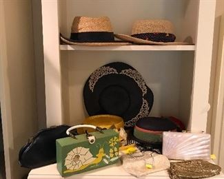 Vintage Hats, Vintage Handbags Including Whiting & Davis Gold Mess Bag