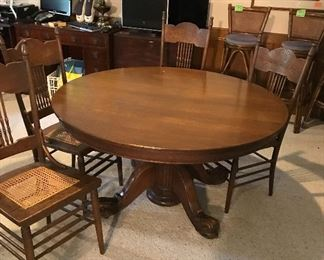 Antique Tiger Oak Dining Table