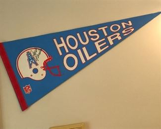 Houston Oilers Pennant Signed by Jack Pardee