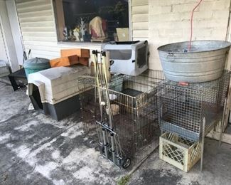 crates and cages, washtub