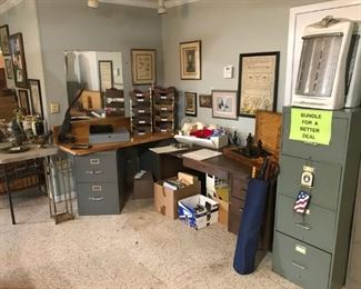 Various office items, vintage desk and filing cabinets, oversized chess set, heaters