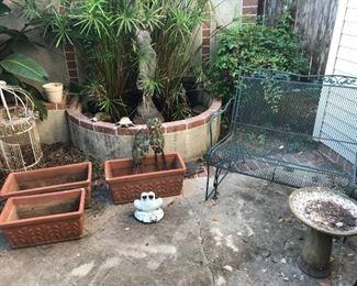 terracotta, fountain sculpture, birdcage, iron porch slider, birdbath