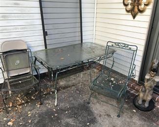iron and glass table, chairs