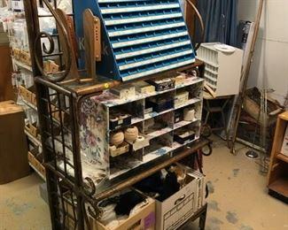 "fruitwood ""bamboo"" baker's rack, display items, boning, threads"