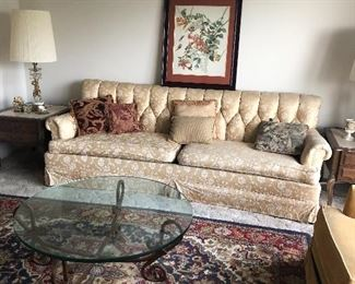 Formal Sofa, Crystal Lamps, Coffee Table