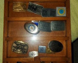 Display Case w/ Belt Buckle Collection