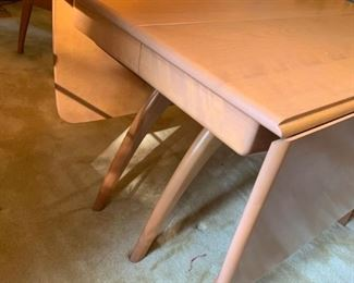 #7 table Heywood Wakefield maple dining table w 3 pedastal 2 leaves, drop side 26.5-98.5x40x29  6 chairs  $ 1,700.00