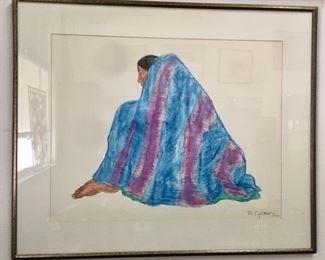 R.C. Gorman (American, 1931 - 2005) , pastel on paper