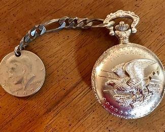 American Historical Society pocket watch with 1942 Walking Liberty silver dollar and 1976 half dollar fob