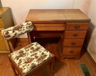 Sewing cabinet with chair and Elna sewing machine