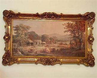 Large gold framed art