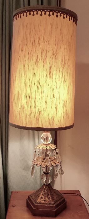 Vintage brass and crystal lamp (there are 2)