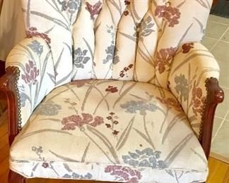 Floral upholstered wing-back chair
