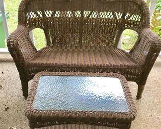 Weatherproof wicker settee and coffee table