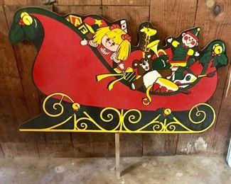 Vintage Santa's sleigh yard decor