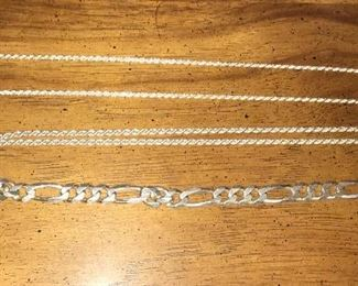 Sterling silver men's bracelet and chain necklaces