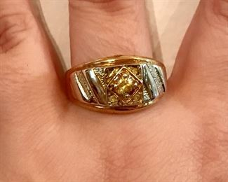 Men's sterling silver and citrine ring