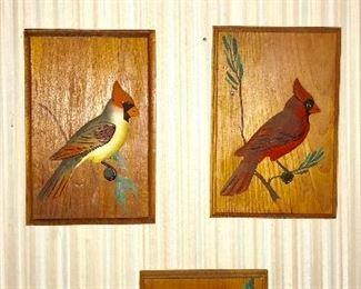 Hand carved wooden bird wall decor set
