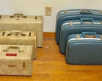Sets of vintage luggage
