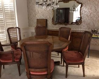 """Formal Dining Room Set - 48"""" octagon table w/ 2-20 inch leaves; 2 arm chairs & 2 side chairs; buffet & morror"""