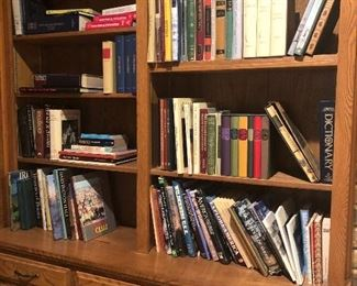 Bookcases; lots of US and world coffee table books and boxed books