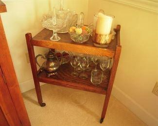 oak tea cart & glassware