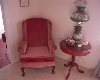 nice chair Mahogany table, gone with wind  lamp