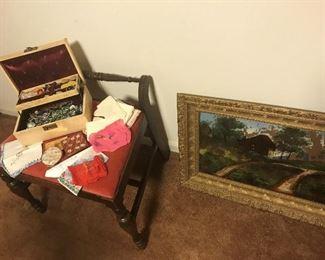 Vintage costume jewelry, vanity stool
