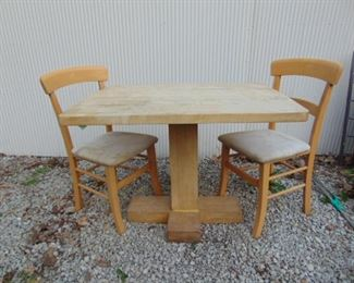 Butcher top table with matching chairs
