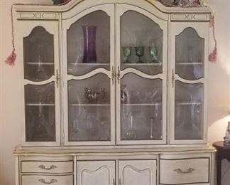 French Provincial china cabinet with curved glass doors