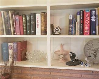 vintage books, pottery