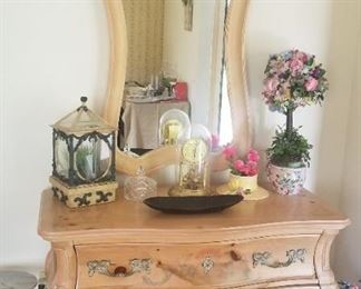 light washed Bombay style chest and matching mirror sold as a set