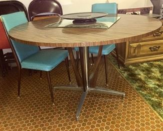 Great Mid Century Chromcraft table, chairs as is.
