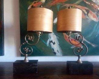 Price Cut - $50 ea / $100 Pair - Ornate lamps. Marble base, Wood veneer shades