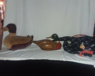 Price Cut - $20 ea. - Plush and wooden duck and antique textile plush cat.