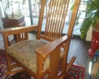 Price Cut - $100 - Mission style wood rocking chair with upholstered seat.