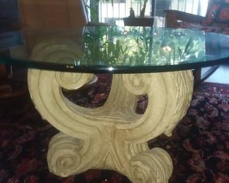Price Cut - $100 - 36 inch glass and cast stone table