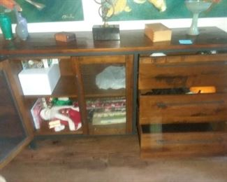 """Price Cut - $300 ea - Rustic wood and iron """"Insignia"""" Sideboard dresser from Scandinavian Designs.  Have 2 of these. 64x18x36"""