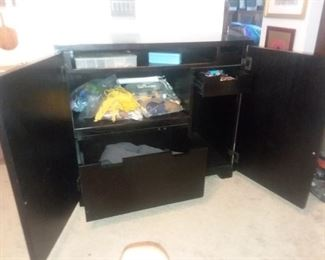 Price Cut - $50 Black Dresser. Slide-out shelf and two drawers. 37x21x32