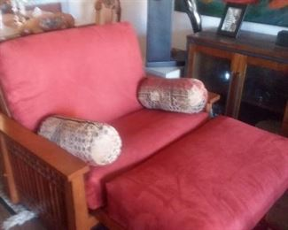 Price Cut - $500 - Multi-functional Chair/Chaise/Futon Twin Bed. Cherry finish, Sturdy Mission Style (Pic 1 of 2)