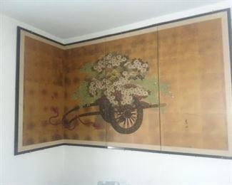 $50 - Oriental Wall Hanging / Screen.  Hinges between panels.  36x70