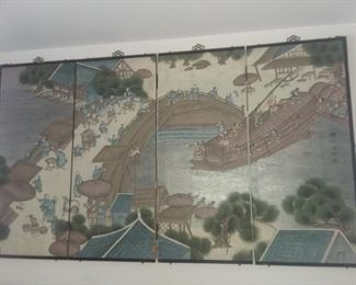 $50 - Oriental Wall Hanging / Screen.  Brass corners and hinges between panels.  34x60