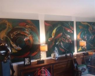 $150 ea. / $400 for all 3.  Large 4ft x 4ft koi fish on canvas. These are not prints but original oils on canvas.